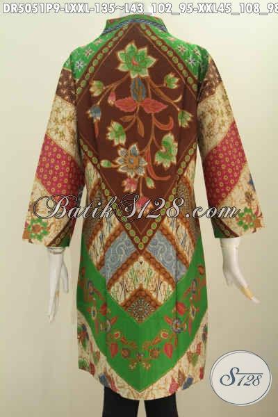 Jual Produk Baju Batik Printing Elegan Model Kerah Langsung, Pakaian Batik Istimewa Berbahan Adem Motif Klasik Pas Banget Untuk Kondangan, Size L – XXL