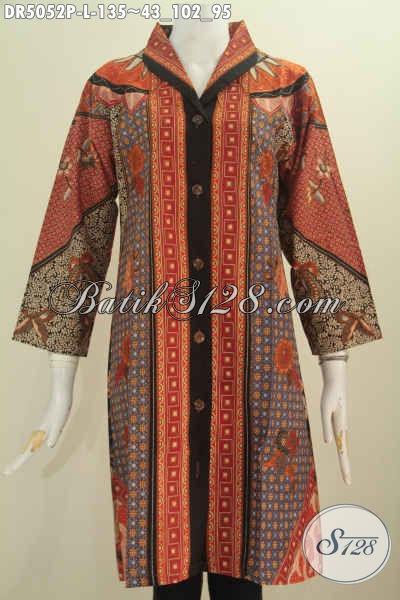 Produk Pakaian Batik Wanita Terkini, Hadir Dengan Model Kerah Langsung Bahan Halus Proses Printing Cewek Tampil Gaya Dan Elegan, Size L