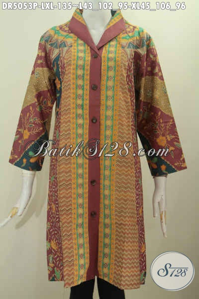 Baju Dress Kerah Langsung Ukuran L Dan XL, Busana Batik Klasik Proses Printing Buata Wanita Dewasa Terlihat Mempesona