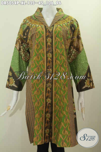 Baju Batik Dress Hijau Motif Klasik Proses Printing, Produk Busana Batik Solo Kerah Langsung Untuk Wanita Dewasa Keren Dan Berkharisma, Size XL