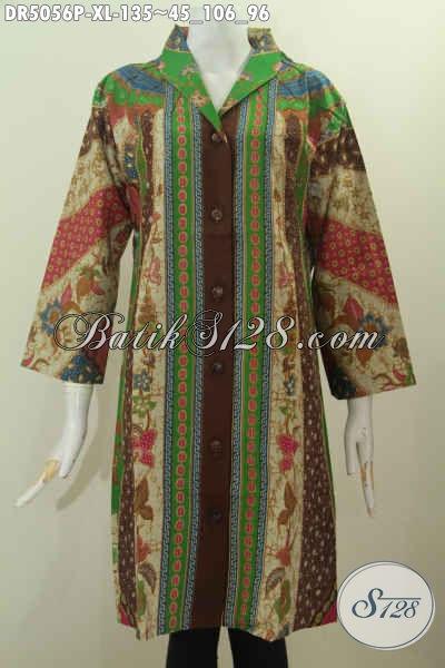 Produk Terbaru Pakaian Batik Cewek 2016, Baju Dress Batik Kerah Langsung Berbahan Adem Proses Printing Untuk Kerja Dan Acara Resmi, Size XL
