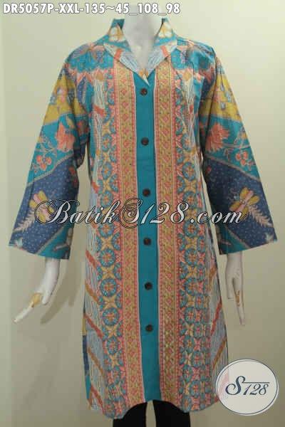 Sedia Baju Batik Kerah Langsung Ukuran Jumbo, Dress Batik Elegan Motif Mewah Bahan Halus Proses Printing Cocok Banget Untuk Wanita Gemuk, Size XXL