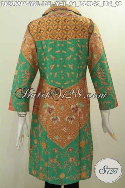Baju Batik Elegan Model Kerah Kotak, Produk Busana Batik Seragam Kerja Wanita Dewasa Bahan Halus Proses Printing Harga 100 Ribuan, Size M – XL