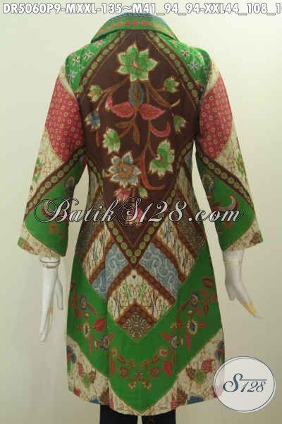 Dress Batik Solo Proses Printing Nan Istimewa, Pakaian Batik Halus Desain Berkelas Motif Klasik Daleman Non Furing Kerah Model Kotak, Size M – XXL