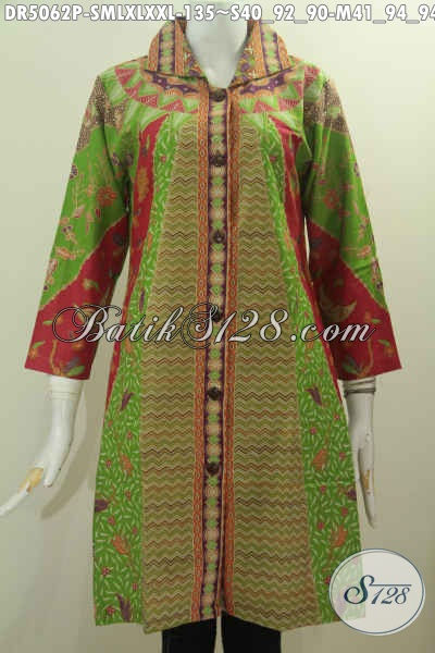 Dress Batik Kerah Kotak Motif 2016, Baju Batik Elegan Berbahan Adem Proses Printing Di Jual Online Harga 135 Ribum, Pilihan Size Komplit [DR5062P-XL]