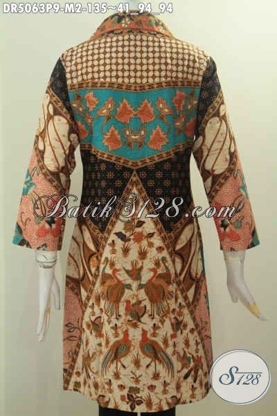 Toko Busana Batik Untuk Wanita, Sedia Dress Kerah Kotak Daleman Tidak Pakai Furing Size M Motif Klasik Proses Printing Untuk Seragam Kerja