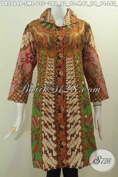 Jual Baju Batik Model Dress Kerah Kotak Buatan solo, Produk Baju Batik Istimewa Proses Printing Untuk Tampil Gaya Dan Feminim, Size S – M – L