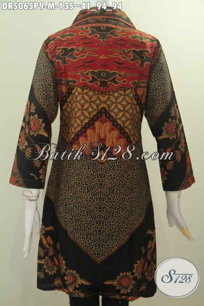 Busana Batik Elegan Motif Mewah Proses Printing, Dress Batik Berkelas Model Kerah Kotak Buat Wanita Muda Tampil Elegan Dan Berkharisma, Size M