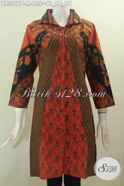 Dress Batik Modis Dan Elegan Ukuran M, Baju Batik Wanita Muda Karir Aktif Dengan Motif Klasik Desain Kerah Kotak Proses Printing Di Jual 135K