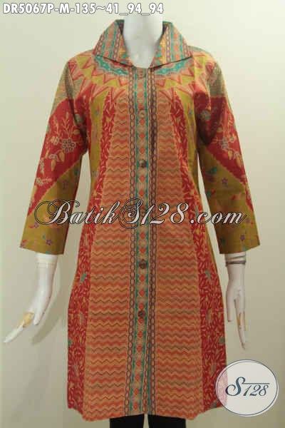 Busana Batik Dress Elegan Motif Klasik, Jual Baju Dress Kerah Kotak Untuk Wanita Muda Ukuran M Harga 135 Ribu [DR5067P-M]