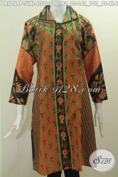 Batik Dress Busana Kerja Wanita Karir Dengan Model Kerah Kotak Berbahan Halus Proses Printing Untuk Tampil Lebih Mempesona Dan Keren, Size S – L – XL