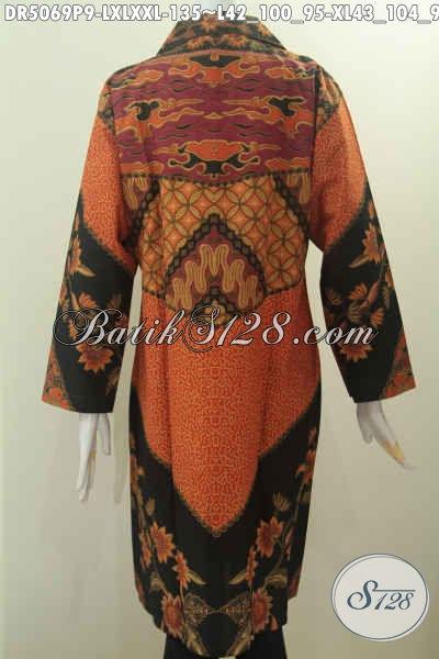 Toko Baju Batik Agen Jawa Tengah, Sedia Dress Kerah Kotak Motif Klasik Proses Printing Elegan Dan Berkelas Harga 135K, Size L – XL – XXL