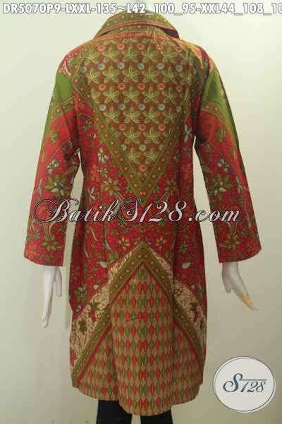 Baju Dress Batik Kwalitas Bagus Harga Murah, Produk Pakaian Batik Klasik Model Kerah Kotak Nan Istimewa Bikin Wanita Terlihat Cantik Maksimal, Size L – XXL