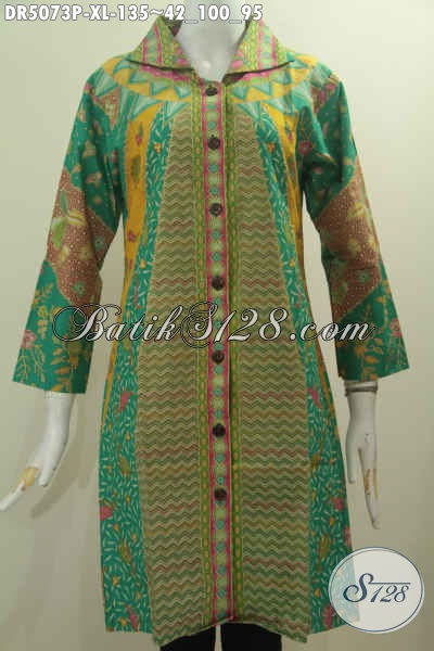 Baju Batik Wanita Dewasa Karir Aktif, Pakaian Batik Halus Proses Printing Berbahan Adem Untuk Penampilan Lebih OK Dan Gaya, Size XL