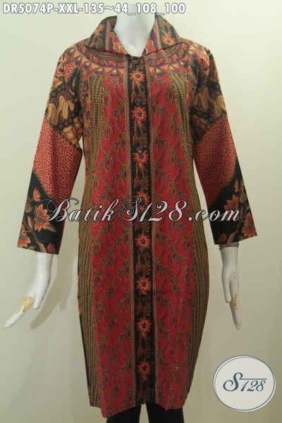 Baju Batik Elegan Dan Mewah Harga 100 Ribuan, Produk Baju Batik Jumbo Buat wanita Gemuk, Bahan Adem Motif Klasik Proses Printing, Size XXL