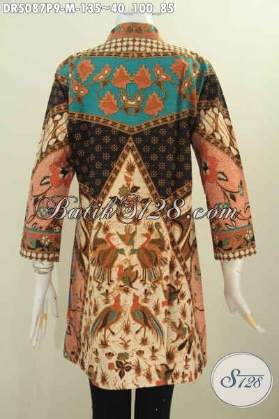 Dress Batik Kerah Shanghai Dengan Model Terbaru Dan Motif Mewah, Baju Batik Elegan Berbahan Adem Proses Printing Harga 100 Ribuan, Size M