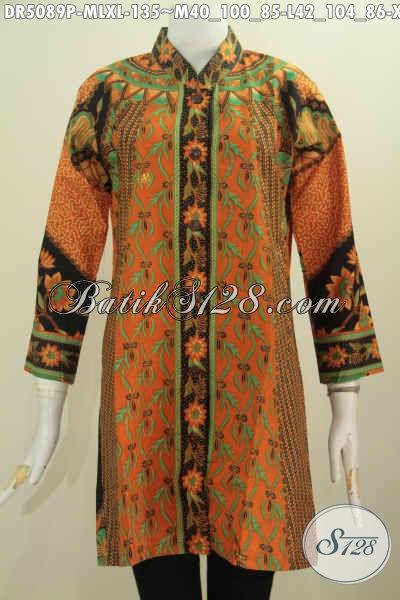 Blus Batik Elegan Nan Mewah Harga Murah, Batik Kerja Wanita Karir Model kerah Shanghai Proses Printing Harga 135K, Size M – L – XL