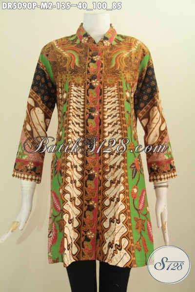 Jual Baju Blus Keren Dan Istimewa, Pakaian Batik Halus Proses Printing Model Kerah Shanghai Kwalitas Istimewa Untuk Penampilan Lebih Berkelas, Size M