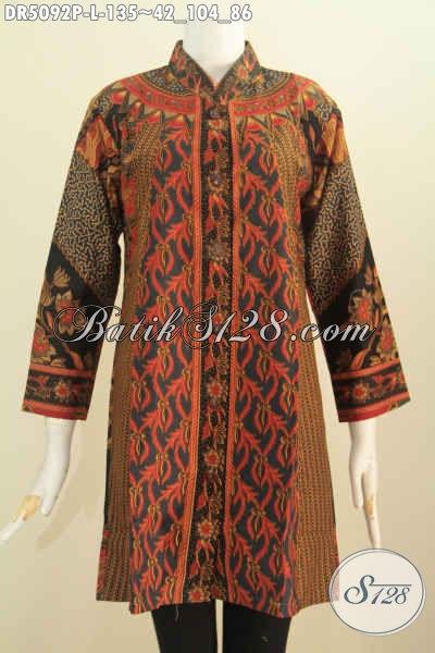 Jual Baju Batik Blus Klasik Printing Model Kerah Shanghai, Busana Batik Istimewa Buatan Solo Bahan Adem Dan Tidak Luntur, Size L