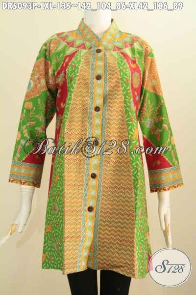 Busana Batik Istimewa Harga Biasa, Pakaian Batik Kerah Shanghai Berbahan Halus Proses Printing Bikin Wanita Dewasa Tampak Mempesona, Size L – XL