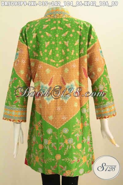 Jual Online Baju Batik Elegan Untuk Wanita Dewasa, Baju Batik Kerah Shanghai Bahan Adem Yang Nyaman Di Pakai, Size L – XL