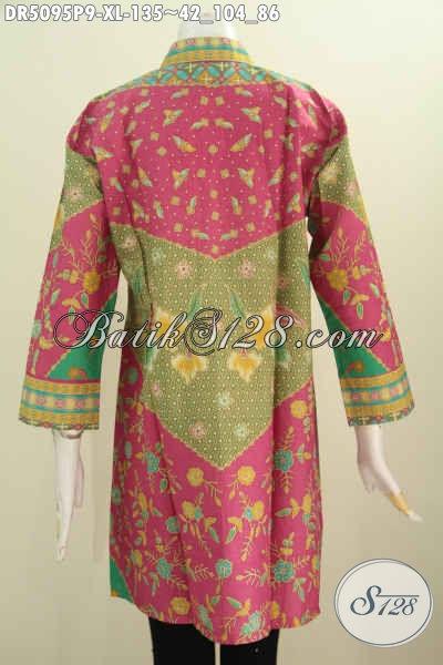 Seragam Batik Untuk Ke Kantor, Baju Batik Blus Wanita Dewasa Model Kerah Shanghai Bahan Adem Harga 135K, Size XL