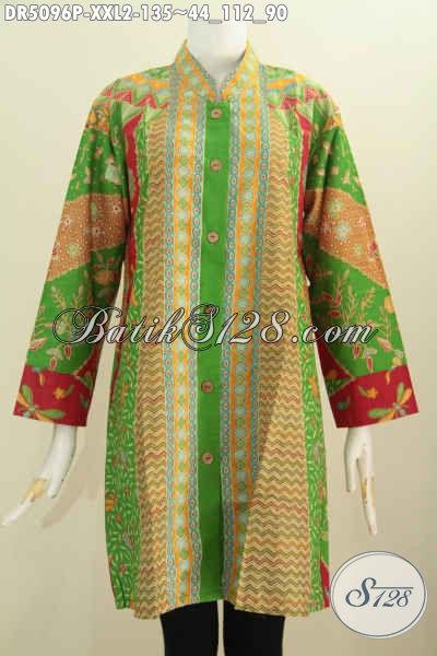 Baju Blus Batik 3L, Busana Batik Klasik Elegan Kerah Shanghai Proses Printing, Elegan Buat Kerja Dan Istimewa Untuk Acara Formal, Size XXL