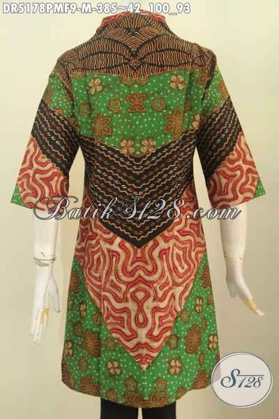 Batik Dress Elegan Model Kerah Langsung Motif Klasik Kombinasi Tulis Kwalitas Premium Daleman Full Furing, Wanita Terlihat Anggun Mempesona [DR5178PMF-M]
