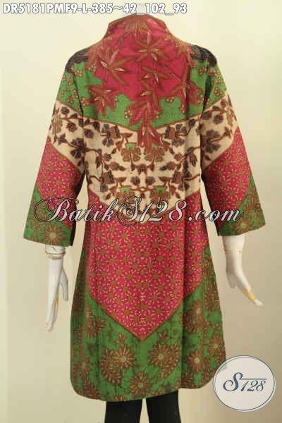 Sedia Baju Batik Dress Batik Kerah Langsung Bautan Solo, Hadir Dengan Motif Klasik Kombinasi Tulis Daleman Di Lengkapi Furing Bikin Kesan Makin Mewah [DR5181PMF-L]