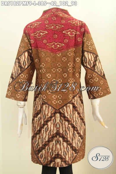 Pakaian Dress Batik Modern Kerah Langsung, Baju Batik Halus Kwalitas Premium Daleman Pake Furing Motif Klasik Proses Kombinasi Tulis [DR5182PMF-L]