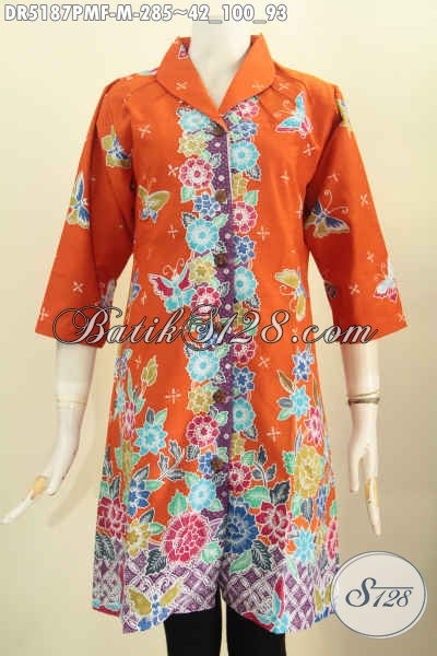 Toko Online Pakaian Batik Paling Lengkap, Sedia Dress Kerah Langsung Berbahan Adem Proses Kombinasi Tulis Motif Trendy Daleman Full Furing Harga 285 Ribu [DR5187PMF-M]