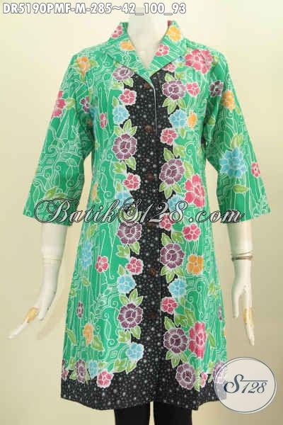 Baju Dress Batik Hijau Bunga-Bunga, Busana Batik Kerah Langsung Full Furing Tricot Bahan Halus Proses Kombinasi Tulis Cocok Buat Pesta [DR5190PMF-M]
