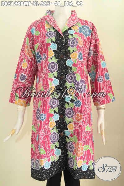 Jual Baju Batik Dress Motif Kombinasi, Pakaian Batik Kerah Langsung Berbahan Adem Pake Furing Tricot Untuk Wanita Dewasa Karir Aktif [DR5198PMF-XL]