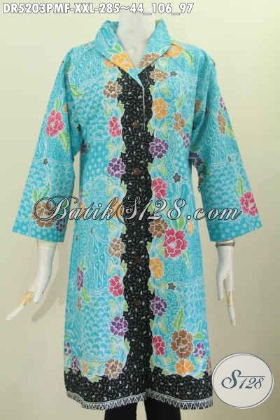 Baju Dress Batik 3L, Busana Batik Istimewa Buat Perempuan Gemuk, Hadir Dengan Model Kerah Langsung Full Furing Proses Kombinasi Tulis [DR5203PMF-XXL]