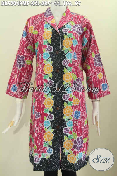 Sedia Pakaian Batik Modern Exclusive Buat Wanita Gemuk Tampil Mempesona, Baju Batik Keren Kerah Langsung Daleman Pake Furing Motif Bunga Kombinasi Tulis Tampil Lebih Anggun [DR5204PMF-XXL]