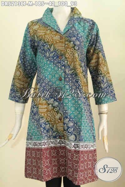 Produk Busana Batik Istimewa Buatan Solo, Pakaian Batik Dress Kerah Langsung Bahan Halus Proses Cap Tulis Untuk Penampilan Lebih Istimewa, Size M