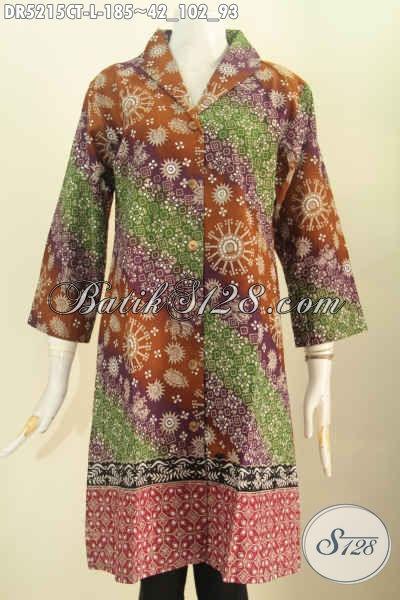 Jual Baju Batik Fashion Perempuan Karir, Busana Batik Halus Proses Cap Tulis Desain Mewah Kerah Langsung Untuk Tampil Lebih Istimewa, Size L