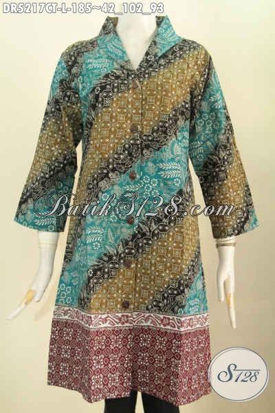 Jual Online Dress Kerah Langsung Proses Cap Tulis, Busana Batik Solo Desain Mewah Untuk Terlihat Modis Dan Berkelas, Size L