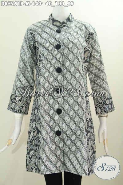 Baju Dress Elegan Motif Klasik Desain Terusan Dengan Kerah Paspol Shanghai Proses Printing, Size M