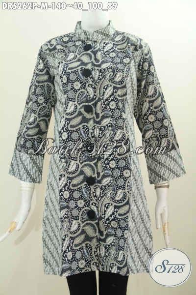 Produk Busana Batik Untuk Kerja, Baju Dress Terusan Berbahan Halus Motif Kombinasi Dengan Kerah Paspol Shanghai Tampil Elegan Berkelas [DR5262P-M]
