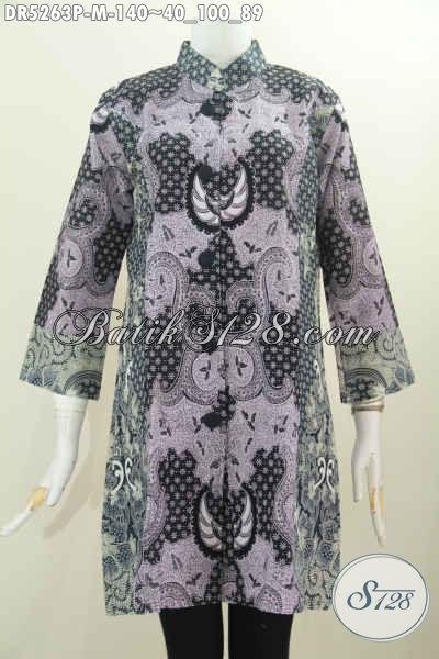 Pakaian Batik Modern Nan Istimewa, Baju Batik Halus Kerah Paspol Shanghai Untuk Tampil Terlihat Berkelas, Size M