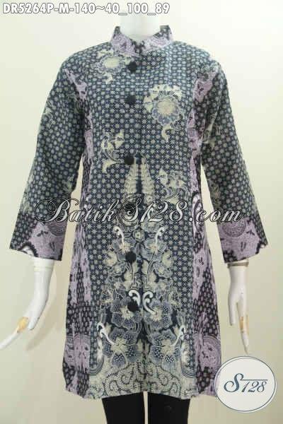 Baju Dress Batik Keren, Baju Batik Terusan Berbahan Adem Dengan Desain Kerah Paspol Shanghai Kwalitas Istimewa Harga Terjangkau, Size M