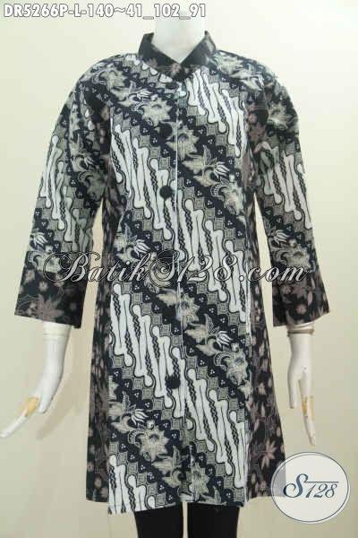 Pakaian Batik Elegan Modis Kwalitas Bagus, Baju Batik Istimewa Buatan Solo Kerah Paspol Shanghai Trend Mode 2016, Size L