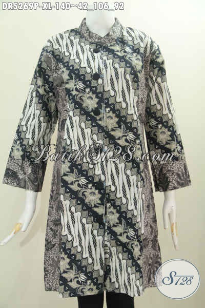 Baju Batik Dress Modern Buatan Solo, Dress Batik Terusan Kerah Paspol Shanghai Bahan Adem Proses Printing, Size XL