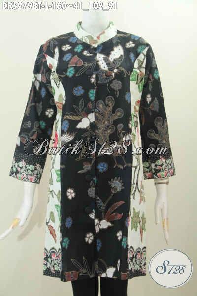 Jaul Online Dress Batik Terusan Modek Kerah Paspol Shanghai Dua Motif Proses Kombinasi Tulis Yang Kern Buat Santai Serta Elegan Buat Kerja [DR5279BT-L]