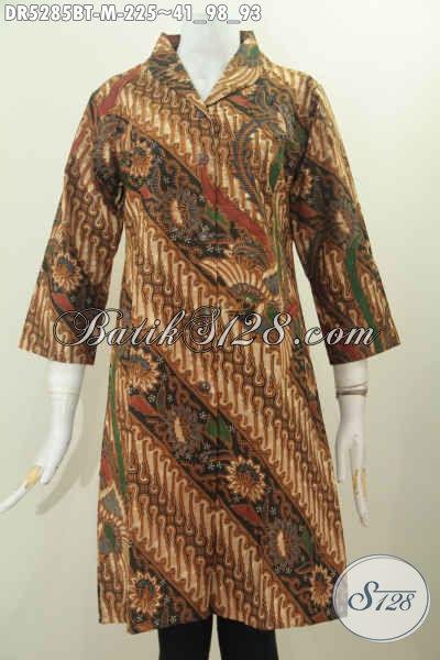 Dress Batik Ukuran L, Busana Batik Kerah Langsung Model Terusan Motif Klasik Kombinasi Tulis Untuk Seragam Kerja Nan Elegan [DR5285BT-M]