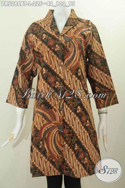 Dress Batik Solo Terusan Kerah Langsung Kwalitas Premium Motif Klasik Proses Kombinasi Tulis Untuk Wanita Terlihat Anggun Mempesona Harga 255K [DR5286BT-L]