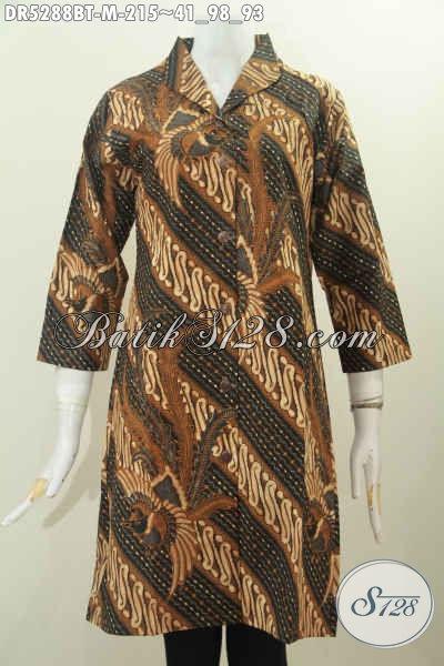 Batik Dress Berkelas Bahan Halus Model Terusan Kerah Langsung Motif