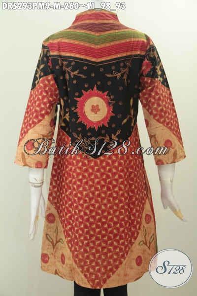 Pakaian Batik Istimewa Buatan Solo Untuk Wanita Muda, Busana Batik Halus Berkelas Motif Klasik Model Terusan Kerah Langsung Bahan Adem Kombinasi Tulis, Di Jual Online Harga 260K [DR5293PM-M]