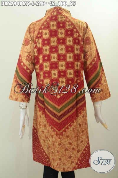 Pakaian Batik Wanita Size L, Dress Batik Kerah Langsung Model Terusan Motif Mewah Proses Kombinasi Tulis, Cocok Untuk Kerja Dan Acara Resmi [DR5294PM-L]